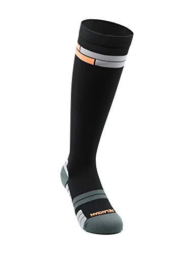 Relaxsan 800 Sport Socks (Negro/Naranja, 3L) – Medias deportivas compresión graduada Fibra Dryarn rendimiento máximo