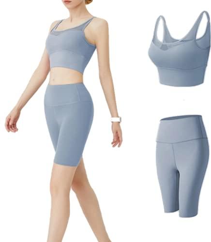 CK CrisKat Mujer Conjunto de Ropa Deportiva Secado Rápido Top y Pantalones Cortos Set 2 Piezas Ropa de Fitness para Gimnasio Yoga de Entrenamiento (M, Azul Claro)