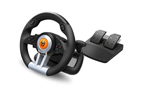 Krom K-WHEEL - NXKROMKWHL - Juego de volante y pedales Multiplataforma, palanca de cambios y levas en el volante, efecto vibracion, compatible PC, PS3, PS4 y XBOX