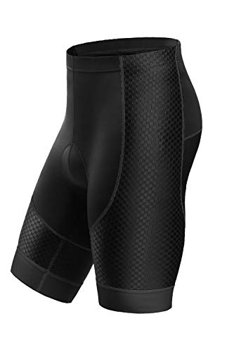 Letook Pantalones Cortos Ciclismo para Hombres Bicicleta Traspirable con Gel Acolchado Anti-UV y Cómodo(Negro&Gris,L)