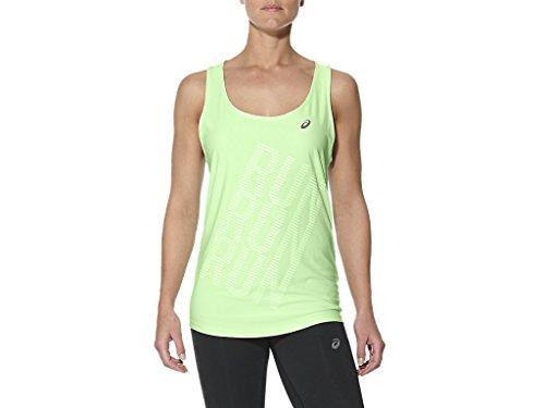 ASICS Graphic Tank Camiseta de Tirantes, Mujer, Verde (Paradise Green), XS