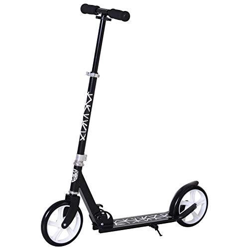 HOMCOM Patinete Plegable Scooter con Manillar Altura Ajustable 86/92/98cm Patinete para Adultos y Niños (más de 14 años) Tipo Monopatín con Freno Grandes Ruedas Carga 100kg