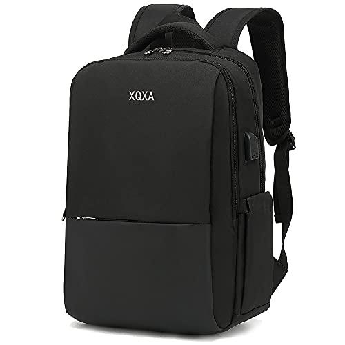 XQXA Mochila para computadora portátil de 15.6 pulgadas, mochila para hombres con puerto de carga USB, mochila para computadora portátil negra para viajes diarios de oficina de negocios