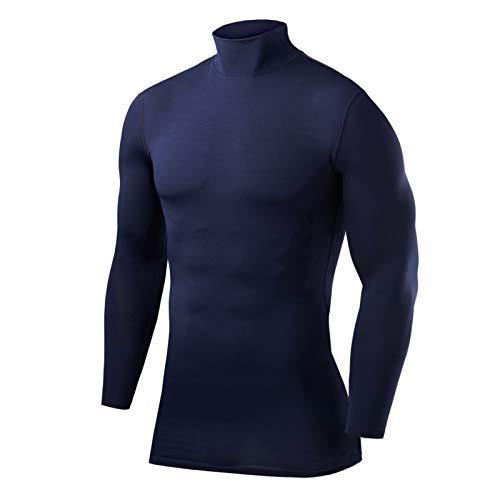 PowerLayer Hombre Y Niños Camiseta Interior Da Manga Larga Térmica Baselayer - Cuello Alto - Navy Eclipse (Azul Marino), L