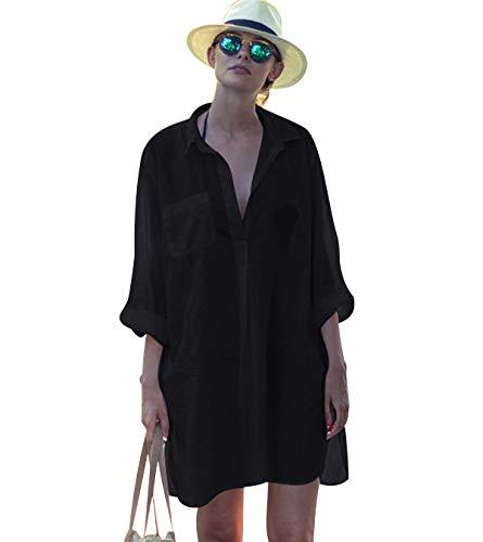 Vestidos de Playa Pareos Playeros Cuello V Boho Vestido Playa Mujer Kaftan Camisolas Caftanes Bluson Tunica Blusas Playa Piscina Ropa de Baño Playero Bikini Cover Up Tunicas Playera Camisola Negro