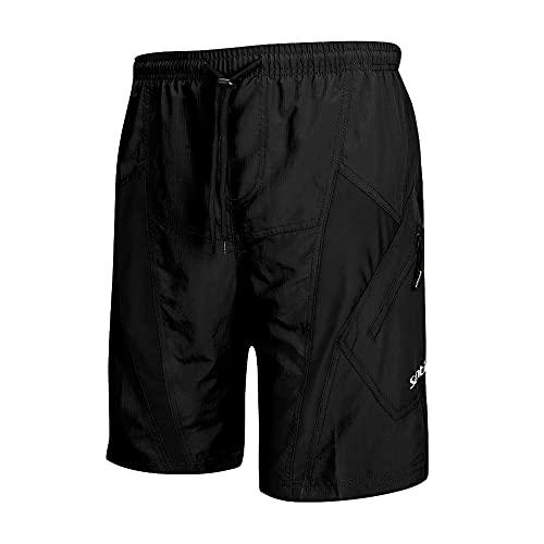 Santic Pantalones Cortos de Ciclismo para Hombre, Pantalones Cortos de MTB para Hombre con Almohadilla de Asiento 4D de Secado Rápido para Bicicleta de Montaña Elasticidad Transpirable,Negro XL