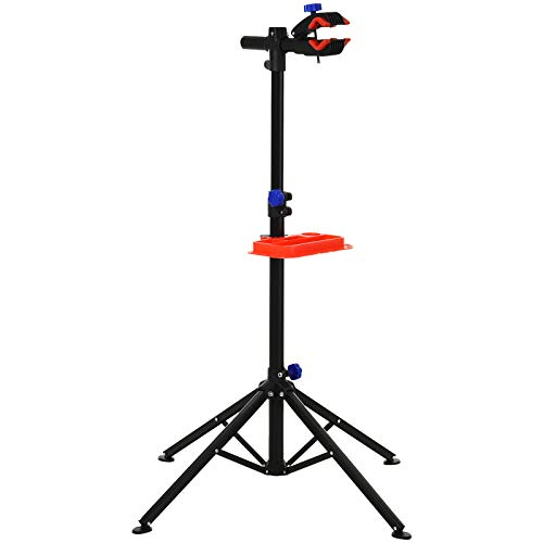 HOMCOM Soporte de reparación Portátil Caballete de Bicicleta para Hogar Altura Ajustable 110-180 cm con 4 Patas Bandeja de Herramientas hasta 25 kg 84x84x180 Negro