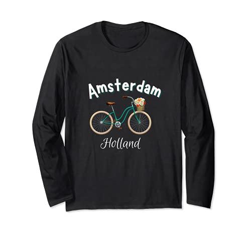 Amsterdam Camiseta Retro Holanda Bicicleta Holandesa Manga Larga