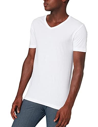 ABANDERADO Camiseta de algodón Manga Corta Cuello Pico, Blanco, M para Hombre