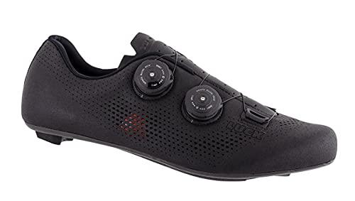 LUCK Perseo | Zapatillas Ciclismo Carretera para Hombre y Mujer | Suela de Carbono | Doble Cierre Rotativo | Zapatillas para Bicicleta de Carretera (42, Negro)