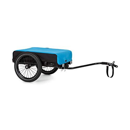 KlarfitCompanion Remolque para bicicleta- Marco de acero, Recubrimiento de polvo, Neumáticos de 16', Revestimiento y cubierta impermeables, 50 litros de volumen, 40 kg de carga máxima, Negro/azul