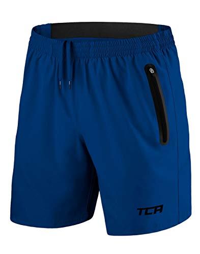 TCA Hombre Elite Tech Pantalones Cortos Da Entrenamiento Ligero para Correr O Gimnasio con Bolsillos con Cremallera - Azul, M