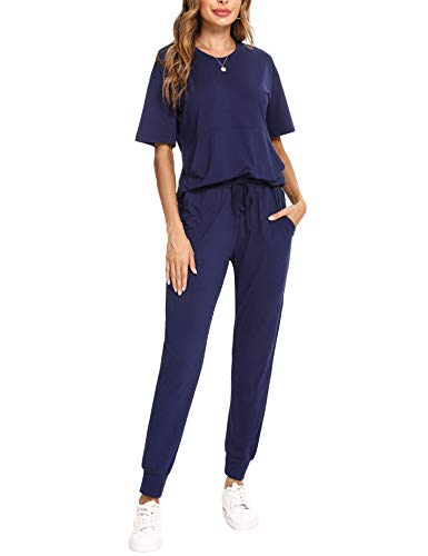 Irevial Chandal Mujer Completo Verano Conjunto de Camiseta y Pantalones de Manga Corta Casual Ropa Deportiva Dos Piezas Primavera para Correr Azul Real, M