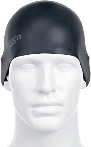 Speedo Plain Moulded - Gorro de natación, tamaño único, color negro*