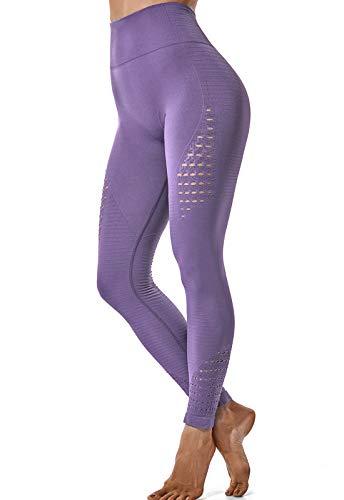 FITTOO Leggings Sin Costuras Corte de Malla Mujer Pantalon Deportivo Alta Cintura Yoga Elásticos Fitness Seamless #1 Morado Claro Medium