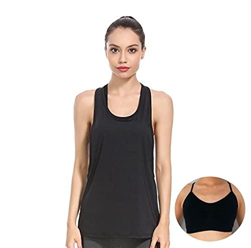 Pack Camiseta y Top Deportivo Mujer Fitness Ropa Deportiva sin Costuras para Mujer Camiseta Deportiva para Mujer Sin Mangas Tank Top (Negro, L)