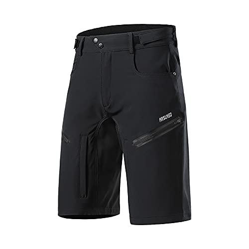 GodUp Pantalones cortos de ciclismo para hombre, pantalones de bicicleta de montaña, pantalones cortos y transpirables, para deportes al aire libre, Negro , M