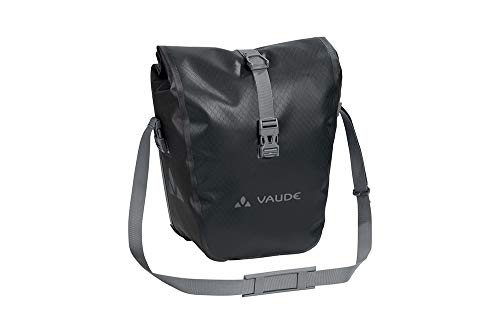 VAUDE Aqua Front –Alforjas delanteras para bicicleta, Juego de 2 bolsas adaptables a la carga e impermeables , Negro, 28 L (2 X 14 L)