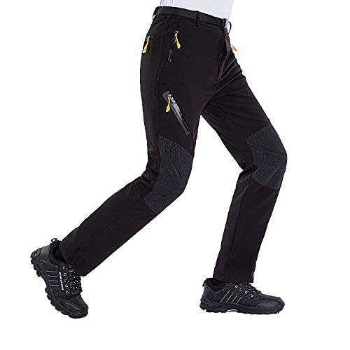 LUI SUI Pantalones de Senderismo Ligeros Softshell para Hombre Pantalones de Senderismo Transpirables al Aire Libre Bolsillos con Cremallera para Primavera/Verano/otoño