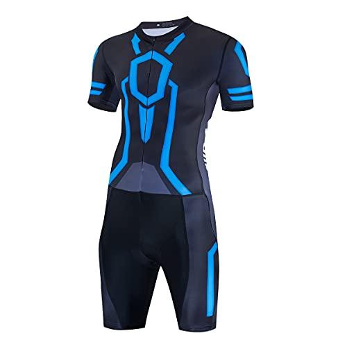 Hombre Manga Corta Triathlon Skin Suit Breath Triatlón Traje de carreras para deportes al aire libre en bicicleta, nadar, Correr, large