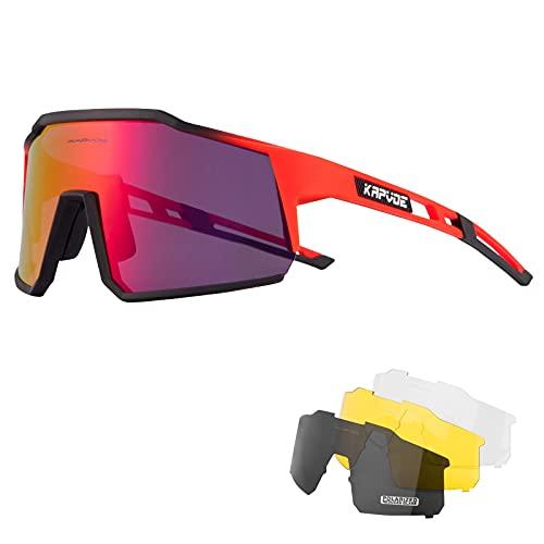 KAPVOE Gafas de Ciclismo Polarizadas con 4 Lentes Intercambiables TR90 Gafas de Sol Deportivas Mujeres Hombres Running MTB Bicicleta Accesorios 11