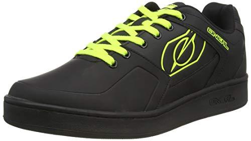 O'NEAL | Zapatillas de Bicicleta | MTB Downhill Freeride | Equilibrio Entre Agarre y posición del pie, Suela de Panal | Zapato de Pedal Plano con Clavos | Adultos | Negro Neón Amarillo | Talla 41