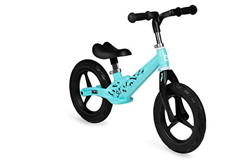 MOMI ULTI Bicicleta de Equilibrio para niños de 2 a 6 años |Ruedas de Goma antipinchazos |Marco de aleación Ligera de magnesio |Altura del sillín y del Manillar Regulables, Peso 3 kg |Turquesa