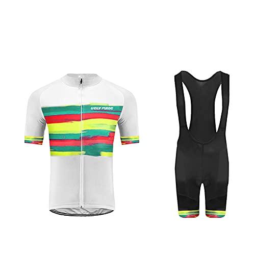 Uglyfrog Designs Bike Wear MTB Hombres Mangas Cortas Jersey de Ciclismo con Pantalones Cortos de Babero Trajes de Ropa de Bicicleta Secado rápido Respirable Sudor-Que Absorbe