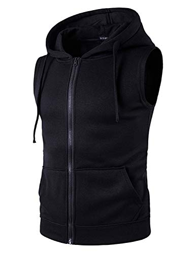 YCUEUST Hombre Sudaderas con Capucha Sin Mangas Camiseta Casual Chalecos Deportivos Negro XX-Large*