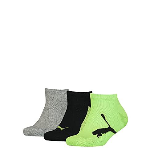PUMA Boy's with a Twist Sneaker Sock Básico niño con un calcetín Deportivo con Giro, Green Flash, 27 Regular Unisex Niños