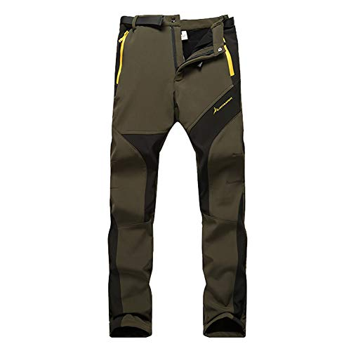 WANPUL Pantalon Softshell Mujer Pantalones de Montaña Impermeable Pantalon Trekking Caliente Pantalones Invierno Ejército Verde M