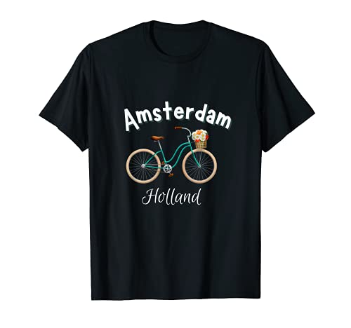 Amsterdam Camiseta Retro Holanda Bicicleta Holandesa Camiseta