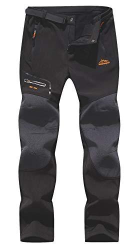 BenBoy Pantalones de Montaña Hombre Impermeables Invierno Calentar Pantalones Trekking Escalada Senderismo Softshell,KZ1602-Black4-M