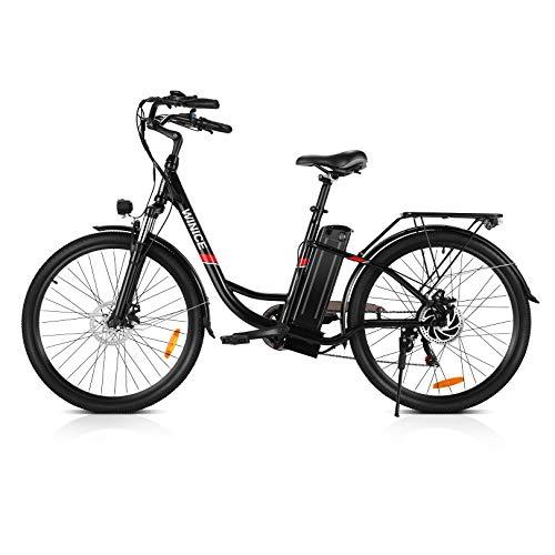 VIVI Bicicleta Electrica, 26 Pulgadas Ebike 250W Motor Bicicleta Eléctrica, 36V / 8Ah Li-Ion Batería, Shimano 7 Velocidades, Bicicleta Mujer Bici Electrica para Adultos (Negro)