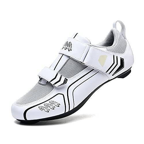 KUXUAN Zapatillas de Ciclismo para Hombres y Mujeres - Zapatillas de Ciclismo de Carretera Zapatillas de Pelotón Zapatillas de Ciclismo de Interior SPD Look Delta,White-9UK=(265mm)=43EU