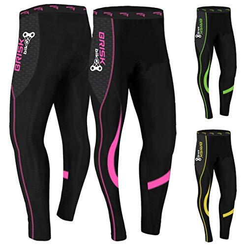 Mallas de ciclismo acolchadas de invierno, pantalones térmicos para andar en bicicleta, para mujer (Black/Pink, S)
