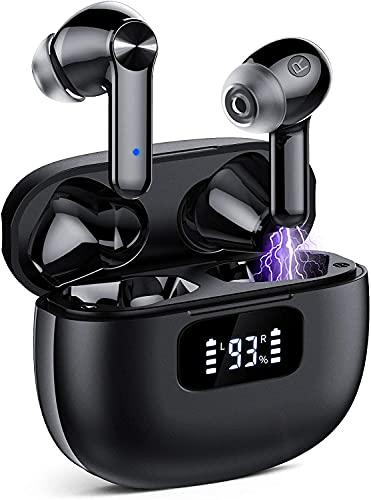 Auriculares Inalambricos, Cascos Inalambricos Bluetooth 5.1, Estéreo de HiFi, 40 Horas de Reproducción, Auriculares Bluetooth IPX7 Impermeable, Control Táctil (Negro) (Negro)