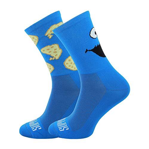 Soporte de calcetines de ciclismo para hombre, tecnología transpirable de fibra antideslizante, unisex, divertidos patrones de ciclista,color Alguien azul, tamaño 10-11 UK / 45-46 EU