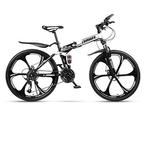 CCONE Folding Mountain Bike,21 24 27 30 Velocidad 6 Spoke Disc Bicycle Full Suspension 24 Pulgadas...*