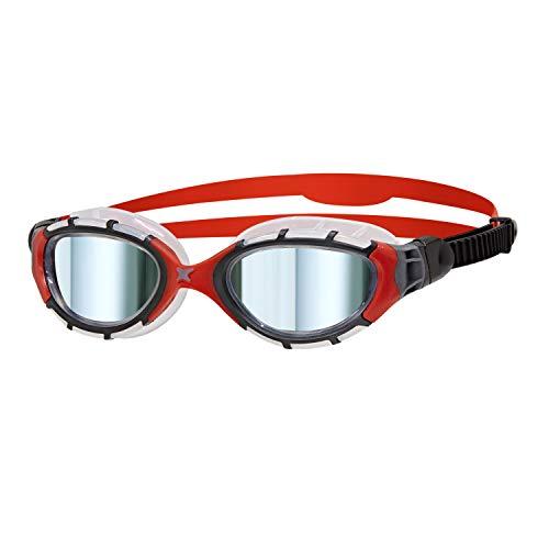 Zoggs Predator Flex Gafas de natación, Unisex Adulto, Negro/Rojo/Espejo, Small
