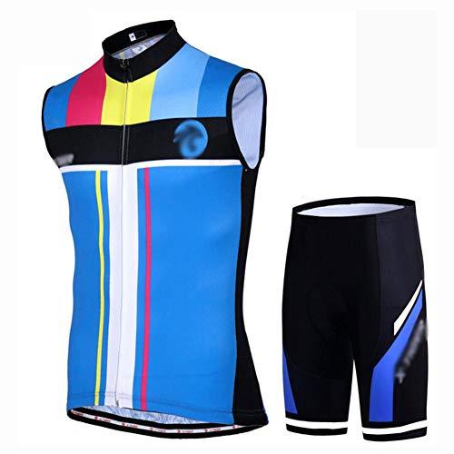 YXX Maillot Ciclismo Corto De Verano para Hombre, Sin Mangas Ropa Maillot Ciclismo Sin Mangas + Pantalon/Bicicleta para MTB Ciclista Bici,Azul,XXXXL