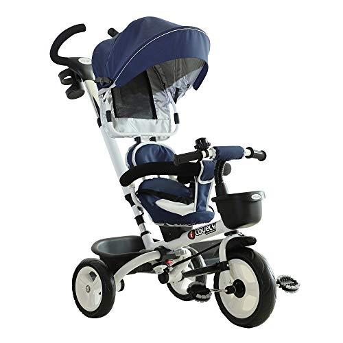 HOMCOM Triciclo Bebé 4 en 1 Trolley Trike Bicicletas para Niños +18 Mes Evolutivo Asiento...*