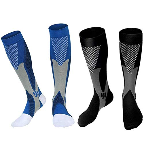 INTVN 2 Pares Calcetines de Compresión para Hombres y Mujeres,Medias de Compresión Deporte Calcetines Corriendo Calcetines Mejor Circulación Sanguínea,Prevención de Coágulos de Sangre para el
