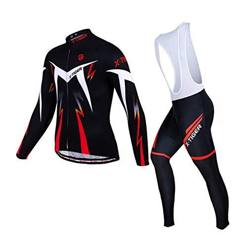 X-TIGER Ropa de Ciclismo de Invierno Para Hombre con Pantalón Acolchado de Gel 5D Y Culotte con...*