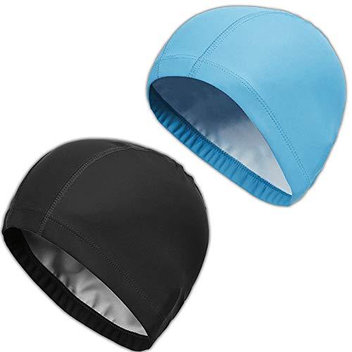 2Pcs Unisex Gorro de Natación Gorro de Baño Piscina Mujer y Hombre Gorro Natación para Pelo Largo y Corto Gorros de Piscina Impermeable Suave y Cómodo, Talla Unica (Negro + Azul Claro)