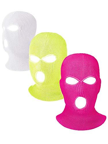 Hicarer 3 Pasamontañas Envoltura de Cabeza Cubiertas Faciales de 3 Agujeros de Esquí de Punta de...*