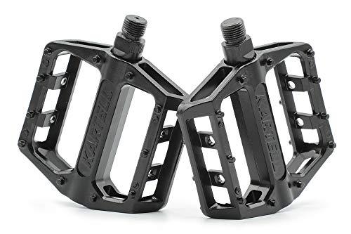 Kartell ® Plataforma MTB Pedales de bicicleta con tecnología de rodamiento de deslizamiento para bicicleta de montaña, BMX, Dirt Jumping y E-Bike, par de roscas de 9/16 pulgadas, color negro