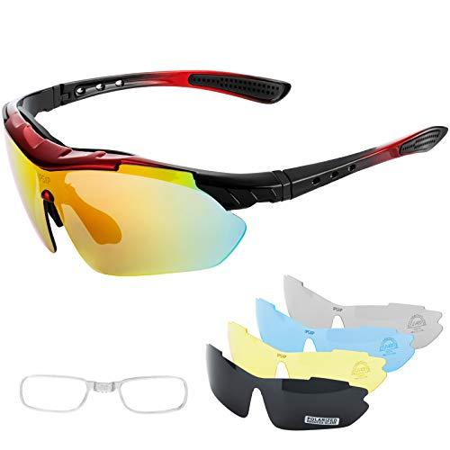 IPSXP Gafas de Sol Deportivas polarizadas 5 Lentes Intercambiables, Gafas de Ciclismo para Hombres y Mujeres, Carrera de béisbol, Escalada, Golf(Rojo&Negro)