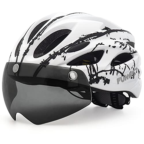 FUNWICT Casco Bicicleta con Gafas Magnéticas Casco Bici de Montaña Ligera LED Casco Bicicleta de Carretera para Mujer Hombre Casco MTB Ligero 57-61 cm (WHInkBlack)