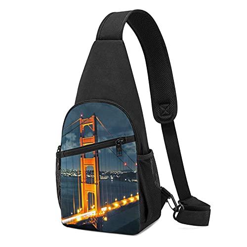 DJNGN General Night Golden Gate Bridge Sling Bag Crossbody Viaje Senderismo Pecho Mochila*